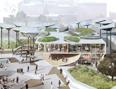 Solar-Pilze für den Broadway - OMA plant Park in Los Angeles