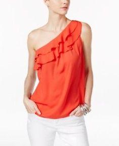INC International Concepts Medium Hibiscus Bloom Pink Ruffled One-Shoulder Top