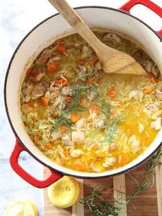 Lemon Chicken Stew; must find a way to make this lower carb (replace flour with almond flower, orzo with some riced cauliflower?)