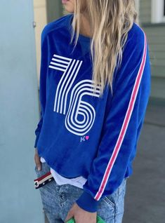 Hammill + Co 76 Retro Velour Sweatshirt Electric Blue   The Rock Box Store