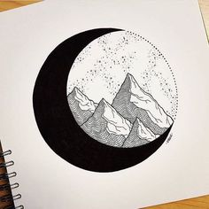 32 Cool Things to Draw When You Are Bored Space Drawings, Cool Art Drawings, Pencil Art Drawings, Art Drawings Sketches, Easy Drawings, Moon Sketches, Drawing Art, Circle Drawing, Circle Art
