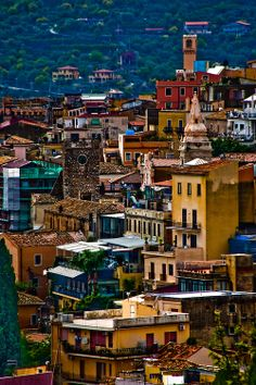 Hillside houses and churches, Taormina, Sicily, Italy #taormina #sicilia #sicily
