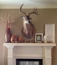 Fall mantle idea. Will have to replace deer with mirror
