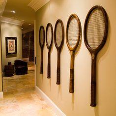 Repurposed old tennis rackets used as wall art. High Camp Home Interior Design – Recreational Room Club Design, House Design, Design Art, Tennis Decorations, Vintage Tennis, Tennis Clubs, Badminton, Cheap Home Decor, Home Interior Design