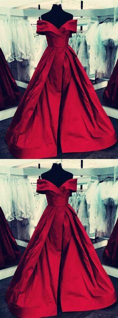 burgundy Satin V-neck Off The Shoulder Ball Gowns Prom Dresses With Leg Split