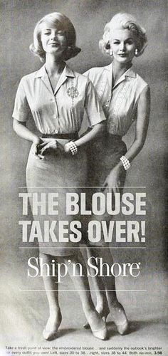 Ship'n Shore Blouses, May 1961. #vintage #1960s #fashion