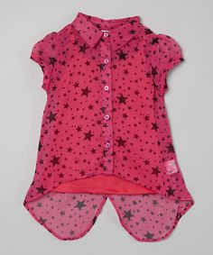 Look what I found on #zulily! Dollhouse Fuchsia Star Button-Up Top - Girls by Dollhouse #zulilyfinds