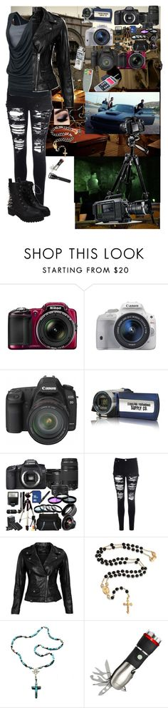 """""""Quick, grab the camera!"""" """"What one?!"""" by narissisticaj ❤ liked on Polyvore featuring Eos, Nikon, Canon, Manfrotto, Glamorous, Helen Yarmak, VIPARO, Disney, Bling Jewelry and Child Of Wild"""