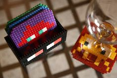 Space Invaders Coaster Set 4 Space Invaders Coasters by BeadxBead, €23.00