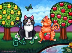 Victoria de Ameida's Atom and Eva. Look for more of her art here. Victoria, Mexican Paintings, Cat Art Print, Here Kitty Kitty, Kitty Cats, Cat Character, Southwest Art, Cat Colors, Adam And Eve