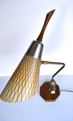 Mid Century Danish Modern Walnut Fiberglass Cone Shade Table Desk Lamp Light. $145.00, via Etsy.