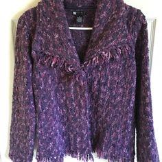 Purple tweed jacket. Very cute! Fringe detail. Like new! Only worn once or twice. Carole Little Jackets & Coats Blazers
