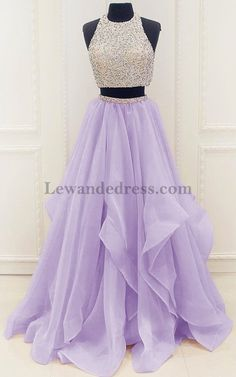 A Line Chiffon Two Piece Beaded Layers Lilac Prom Dress 56308