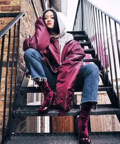 How To Layer Clothes Winter Style Tips Instagram Trend | Whether it's a dress over a sweater or two coats worn together, Instagram's most stylish women are showing us creative ways to layer this winter. #refinery29 http://www.refinery29.com/winter-layering-street-style-trend-photos