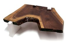 Sentient Live Edge Coffee Table with White Gloss Laminate Legs