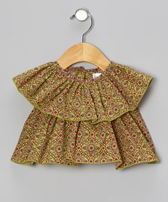 Green Tiered Peasant Top - Infant, Toddler & Girls