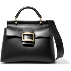 Roger Vivier Viv Cabas small leather tote ($2,950) ❤ liked on Polyvore featuring bags, handbags, tote bags, black, leather handbag tote, leather purses, structured tote bag, leather tote purse and leather tote bags