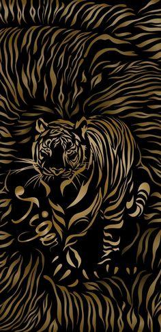 New Tiger Background iPhone Gold Wallpaper, Apple Wallpaper, Wallpaper Backgrounds, Tiger Wallpaper Iphone, Wallpapers, Photo Wall Design, Photo Wall Art, Yarn Wall Art, Tiger Art