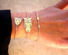 Bracelet jonc fin argent 925 avec une flèche ou une chouette / un hibou ou une tête de tigre
