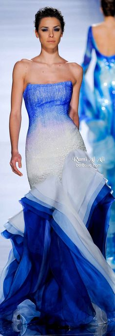 Rami Al Ali Couture SS 2011 | water color ombré | blue and white | strapless | beaded | layered chiffon evening gown