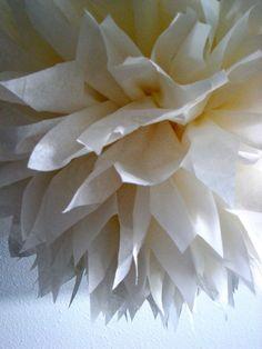 Cream ... 1 tissue paper pom // wedding decorations // diy  // anniversary // baptism // engagement // party decorations