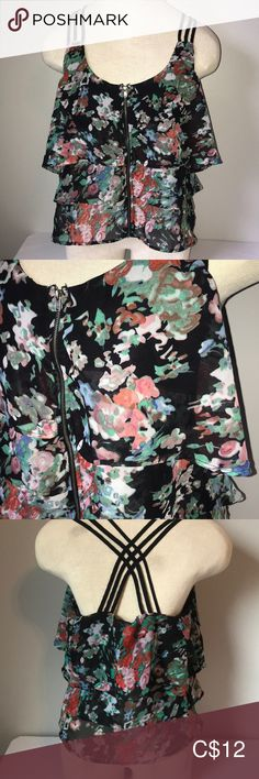 Material Girl Ruffle Zippered Racerback Top Sz S Racerback Style Top Layered Ruffles Polyester Plus Fashion, Fashion Tips, Fashion Trends, Material Girls, Ruffles, Floral Tops, Vogue, Smoke Free, Blouses