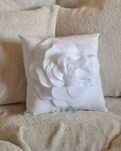 white decorative pillow white rose pillow 14x14 - White Decorative Pillows