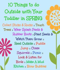 10 things to do outside with toddler in spring - A post packed with inspiring outdoor play ideas for little ones.
