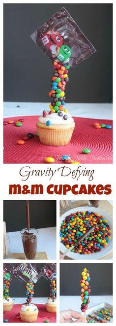 Gravity Defying M&M Cupcakes - Family Table Treasures