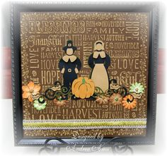 Thanksgiving Decor,  @Andrea Amu using Core'dinations Seasonal Impressions (and more Core), Cricut Thanksgiving and Helmar adhesives.