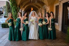 Emerald green bridesmaid dresses with white bouquets | Moments Found Photography | villasiena.cc