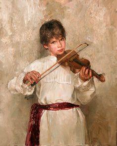 """""""Violinist"""" -- Natasha Milashevich (1967, Russian)"""