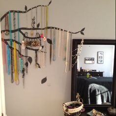 cute idea- tree painted on wall and hooks on branches to hang jewelry