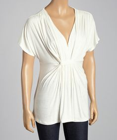 Take a look at the White Gathered V-Neck Dolman Top on #zulily today!