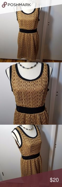 Forever 21 Antique Gold & Black Lace Midi Dress Excellent pre-owned condition. No damages, stains, or wear. It is a very nicely detailed dark gold lace dress layered over brown cotton with black trim and waistband. Not stretchy, but a good solid weight. Not flimsy, this is one of their better made items. Measurements are in the picture. Forever 21 Dresses Midi