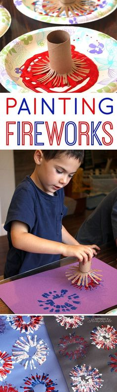 4th of July Kids Craft: Fireworks Painting - Happiness is Homemade Kids Crafts, Daycare Crafts, July Crafts, Craft Activities For Kids, Summer Crafts, Toddler Crafts, Preschool Crafts, Holiday Crafts, Arts And Crafts