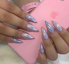 Silver hologram stiletto nails