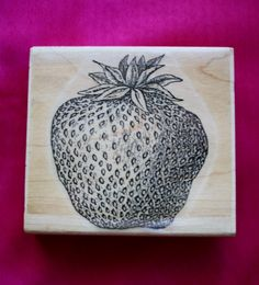 Strawberry Large /Rubber Stamp /Retired Stamp/Stamp Cabana by BluetreeSewingStudio on Etsy