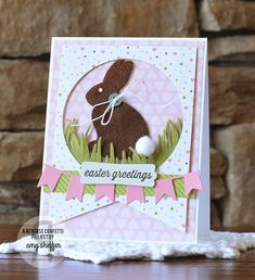 card critters bunny rabbit bunnies easter spring easter card - easter - grass border, felt fabric and paper, Echo Park Bundle of Joy girl paper pad - hare kanin hasen Pickled Paper Designs Easter Wishes, Easter Card, Easter Bunny, Confetti Cards, Diy Ostern, Scrapbooking, Greeting Cards Handmade, Easter Crafts, Homemade Cards