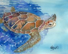 Sea Turtle Art Print of Original Watercolor Painting - About the Print: This Sea Turtle open edition art print is from an original Sea Turtle Painting, Sea Turtle Art, Sea Turtles, Watercolor Fish, Watercolour, Watercolor Paintings Of Animals, Beach Art, Cat Art, Art Drawings