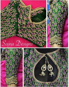 Elbow length sleeve design collection from Sajna bridal wear. All top elbow length sleeve collection. Sleeves with hand embroidery thread bead and kundan work. Blouse Designs Catalogue, Best Blouse Designs, Wedding Saree Blouse Designs, Pattu Saree Blouse Designs, Maggam Work Designs, Bollywood, Indie, Sleeve Designs, Work Blouse