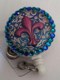 Bling Fleur de lis  Bling Badge Reel retractable and by mccloy750, $10.50