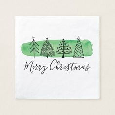 Shop Modern Watercolor Christmas Napkins created by Charmworthy. Painted Christmas Cards, Watercolor Christmas Cards, Christmas Card Crafts, Christmas Napkins, Homemade Christmas Cards, Christmas Drawing, Christmas Paintings, Watercolor Cards, Christmas Art