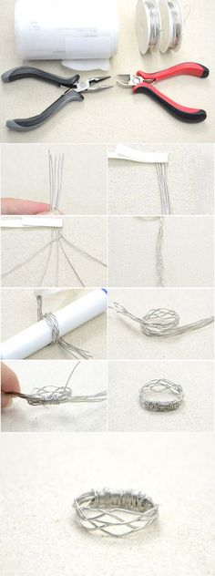 Simple Tutorial on Making a 5-Strand Woven Wire Ring from LC.Pandahall.com…