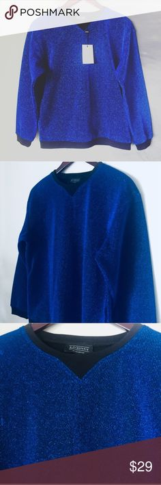 ELEVEN PARIS glitter top royal blue sweatshirt NEW NEW. Shiny hoodie jacket sweater Chanel Dior Zara Fendi Kenzo Prada Hermes Michael Kors Valentino Lacoste Louis Vuitton Balenciaga Alexander Wang Kate Spade Hugo Boss Burberry Alexander McQueen Gucci Herve Leger Oscar de la Renta Balmain Tom Ford Givenchy Lanvin Zac Posen Christopher Phillip Lim Margiela MaxMara Marni Kane Marc Jacobs Runway Fashion show Premuim Signature collection original authentic real designer brand name. Bundle with…
