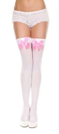 922d2b58878 Music Legs Opaque Stocking with Bow Stay up Thigh Hi