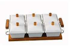 6'lı Bambu Standlı Porselen Kahvaltılık 69,90 TL yerine, kdv dahil 34,99 TL