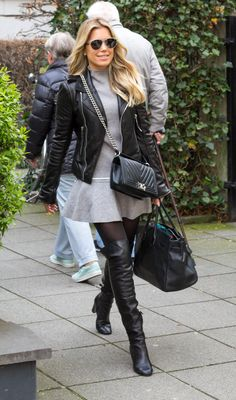 Celeboots Sylvie Meis Germany May 3 2017 7 Hot Outfits, Winter Fashion Outfits, Sexy Boots, Black Boots, Sylvie Meis Style, Nylons, Celebrity Boots, Celebrity Style, High Leather Boots