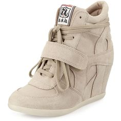 Ash Bowie Suede Wedge Sneaker ($155) ❤ liked on Polyvore featuring shoes, sneakers, clay, grip trainer, wedged sneakers, suede wedge shoes, platform wedge shoes and suede wedge sneakers