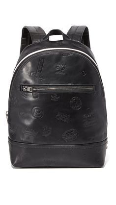 Bally Men's Tiga Patch Leather Backpack, Black, One Size